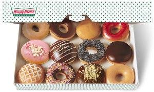A box of Krispy Kreme donuts.